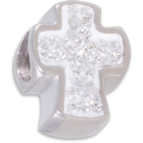 Connections from Hallmark Clear Crystal Stainless Steel Cross Bead
