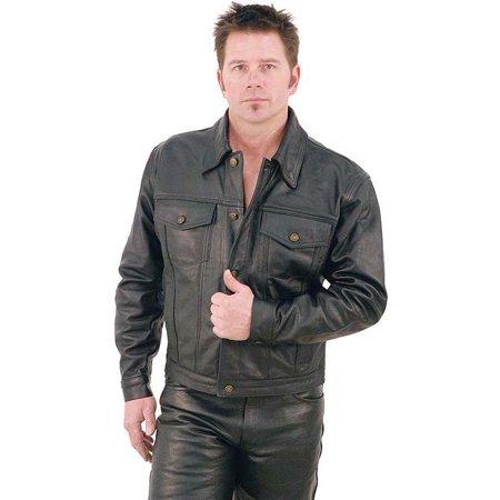 - Denim Style Black Leather Jacket #M1411