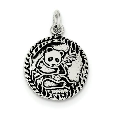 Sterling Silver Antiqued Panda Bear Charm ()
