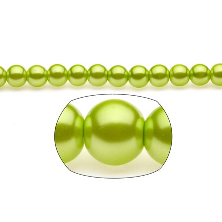 10mm Sour Green Round Glass Pearl 90-Bead Count ()