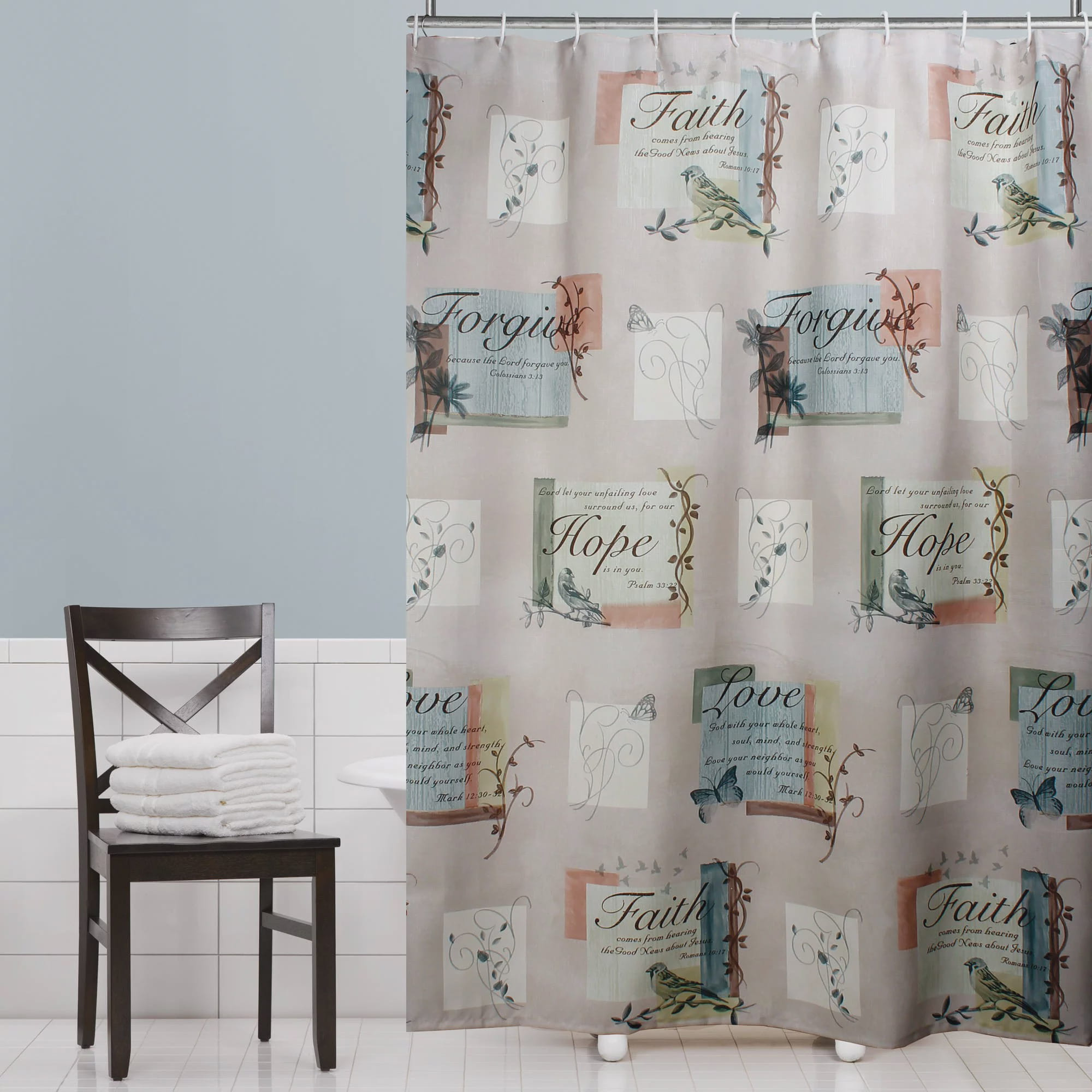 Mainstays Hopeful Fabric Shower Curtain by Saturday Knight LTD