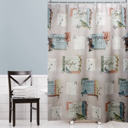 Mainstays Hopeful Fabric Shower Curtain - Walmart.com