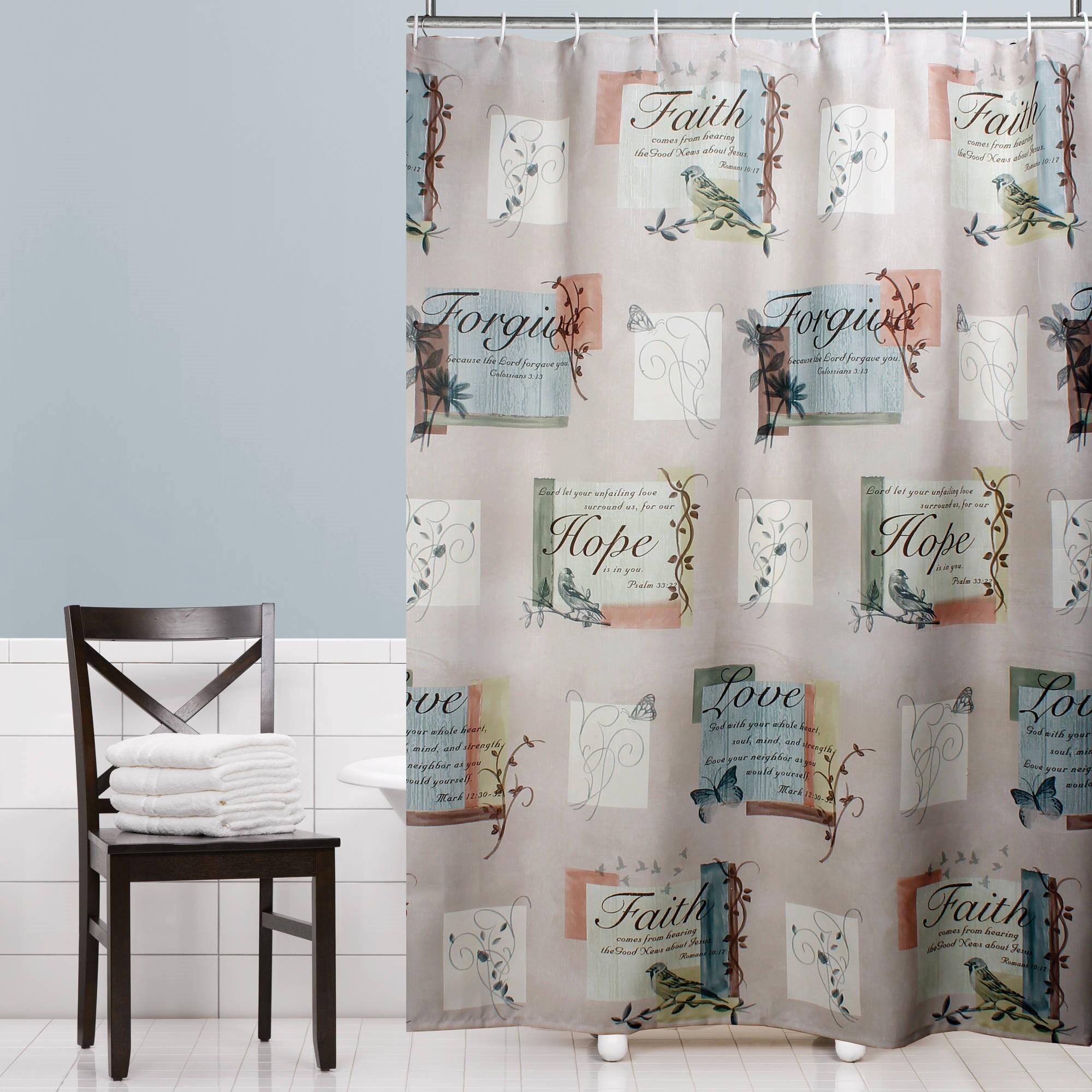 "Mainstays Hopeful Fabric Shower Curtain 70"" x 72"""