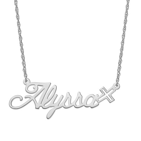 Personalized Women's Sterling Silver or Gold over Silver Script Nameplate with Cross Necklace