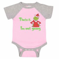 "Kids Adorable Baseball Onesie ""That's It, I'm Not Going"" The Grinch - Scrooge, 0-3 months, Grey Solid Short Sleeve"