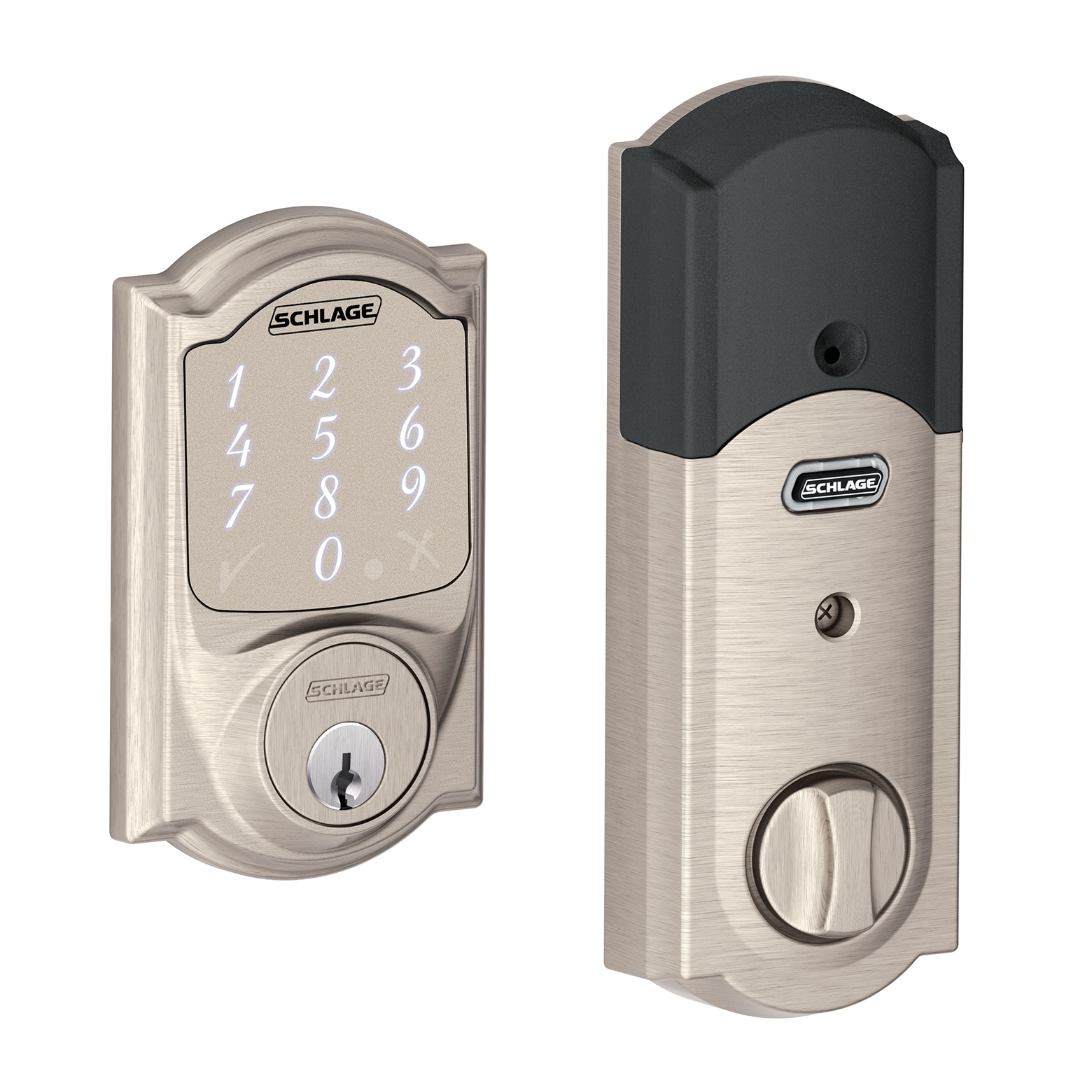 Schlage BE479AACAM619 Satin Nickel Camelot Sense Touch Screen Electronic Deadbolt With Built In Alarm