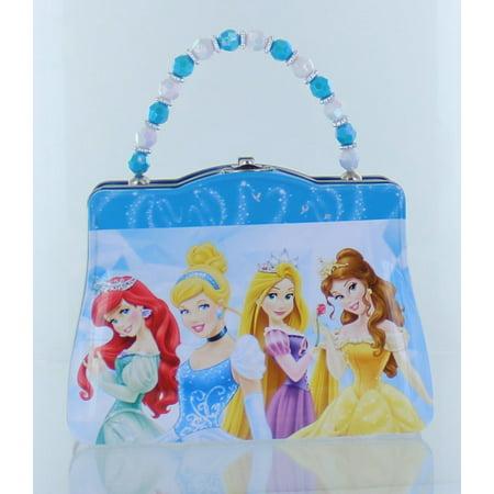 Disney Princess Purse Shaped Tin Box With Beaded Handle-Blue