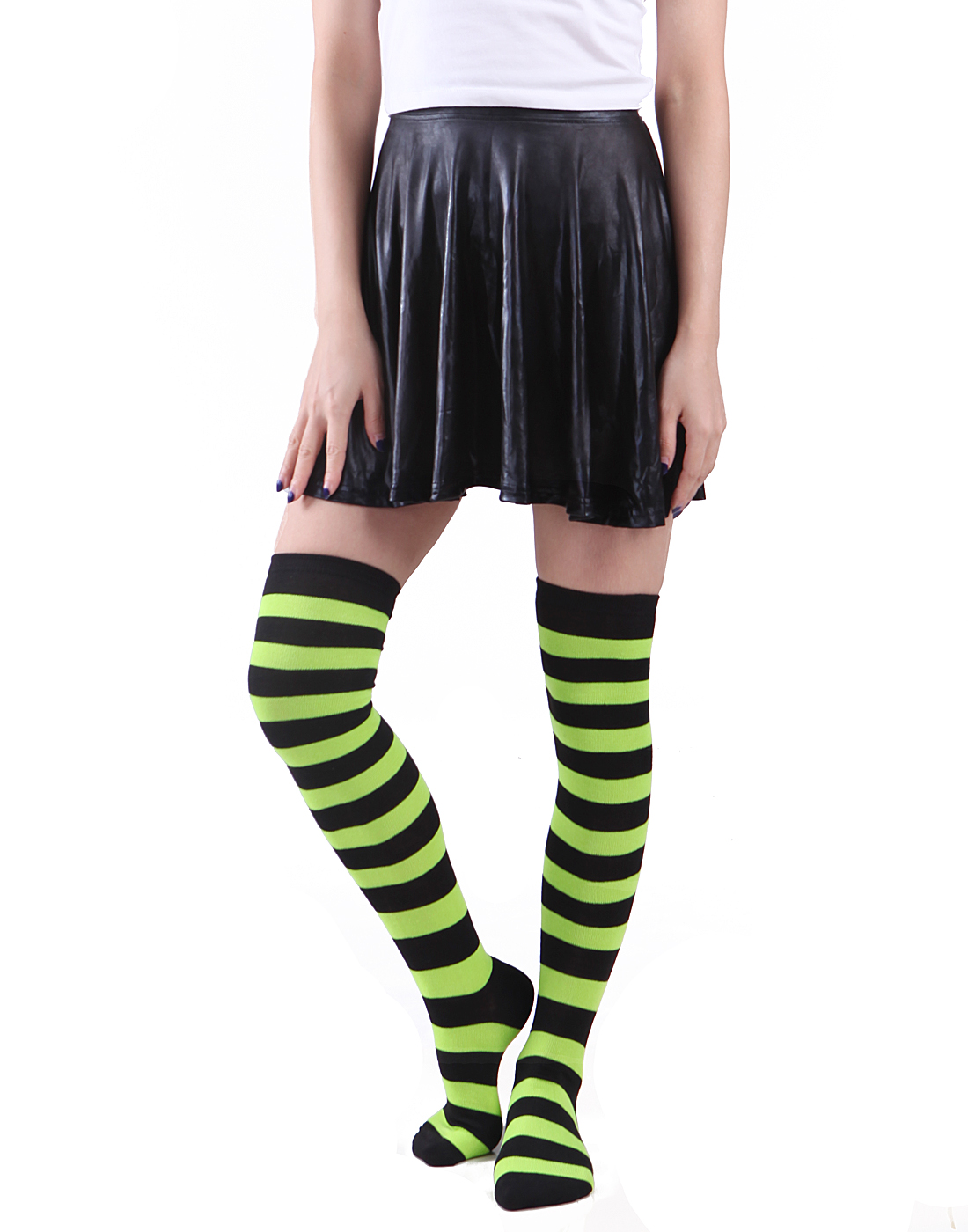 Women's Extra Long Striped Socks Over Knee High Opaque Stockings (Rainbow)