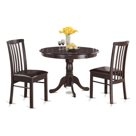 East West Furniture Hartland 3 Piece Round Pedestal Dining Table Set