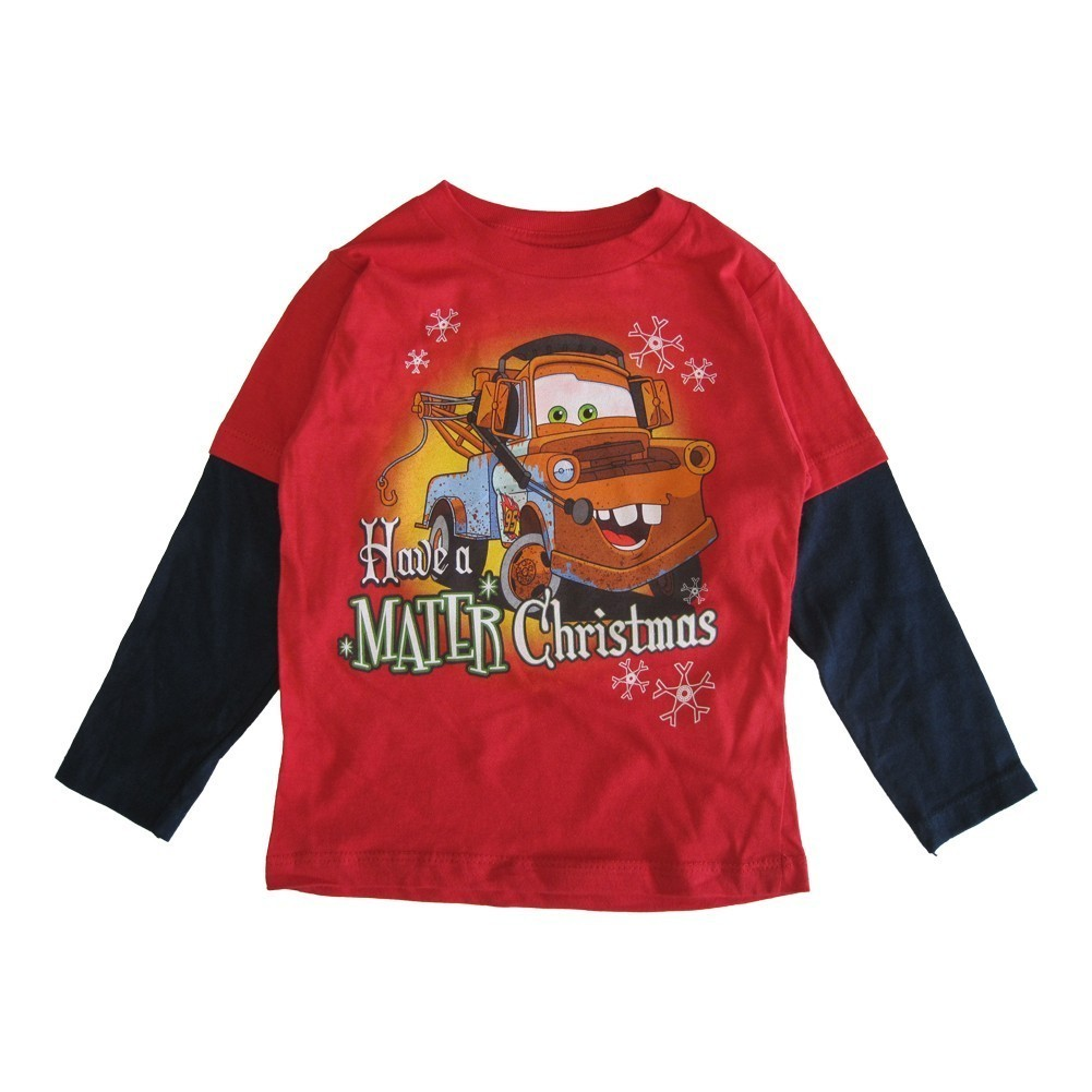"""Disney Little Boys Red Cars """"Have A Mater Christmas"""" Long Sleeved T-Shirt 2-4T"""