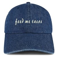 Feed Me Tacos Embroidered 100% Cotton Denim Cap Dad Hat - Dark Blue 2ecd22a0aae7