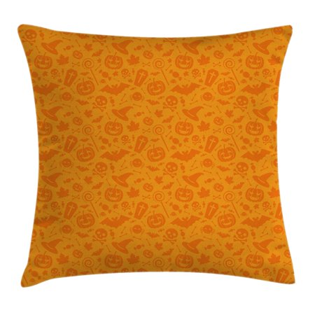 Halloween Decorations Throw Pillow Cushion Cover, Monochrome Design with Traditional Halloween Themed Various Objects Day, Decorative Square Accent Pillow Case, 18 X 18 Inches, Orange, by Ambesonne](Halloween Main Theme Mp3)