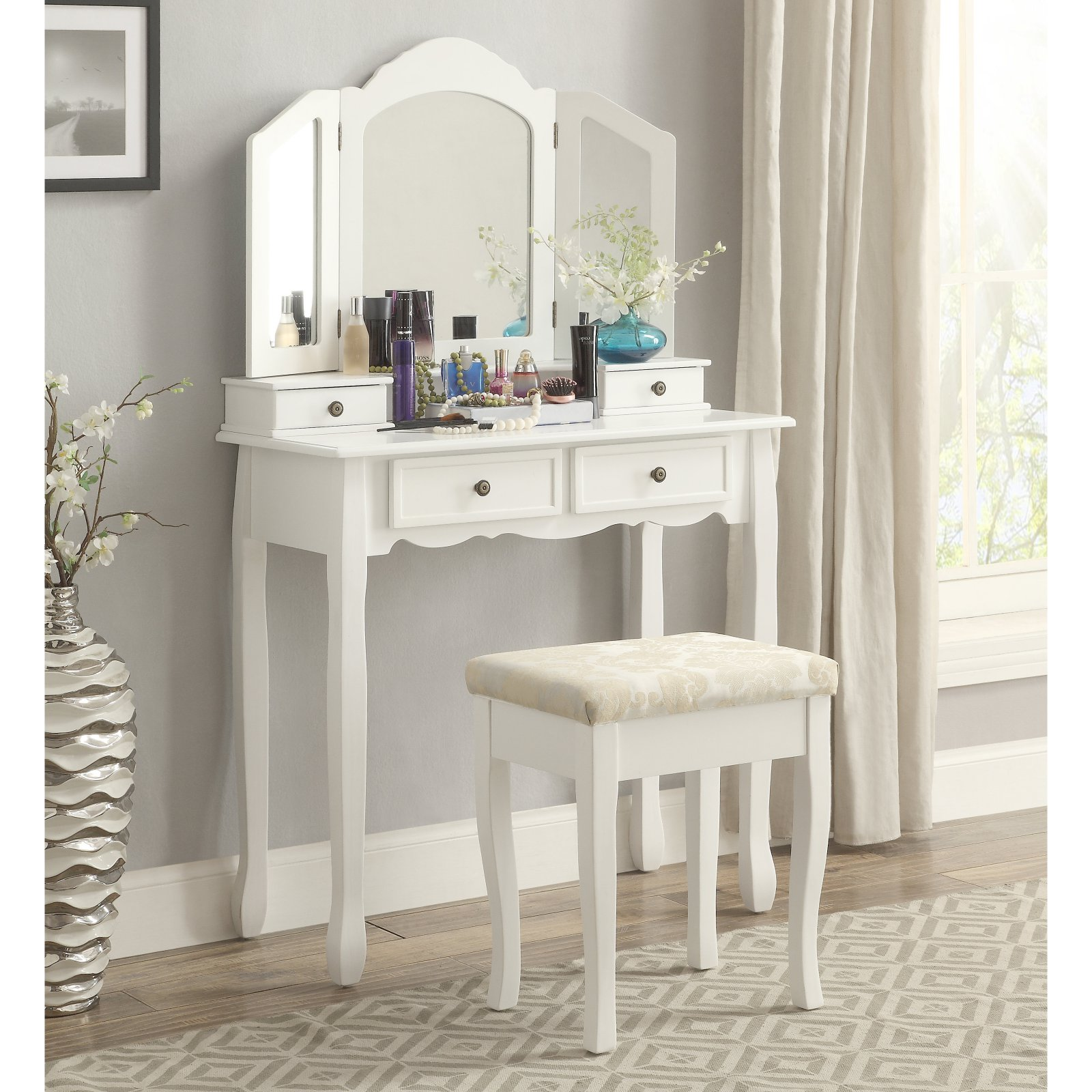Roundhill Furniture Sanlo White Wooden Vanity, Make Up Table and Stool Set by Roundhill Furniture Inc