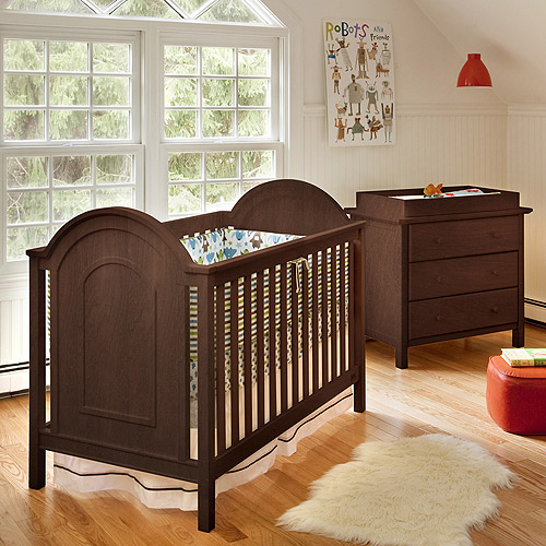 Lolly & Me Ellery 3-in-1 Fixed-Side Convertible Crib, Espresso