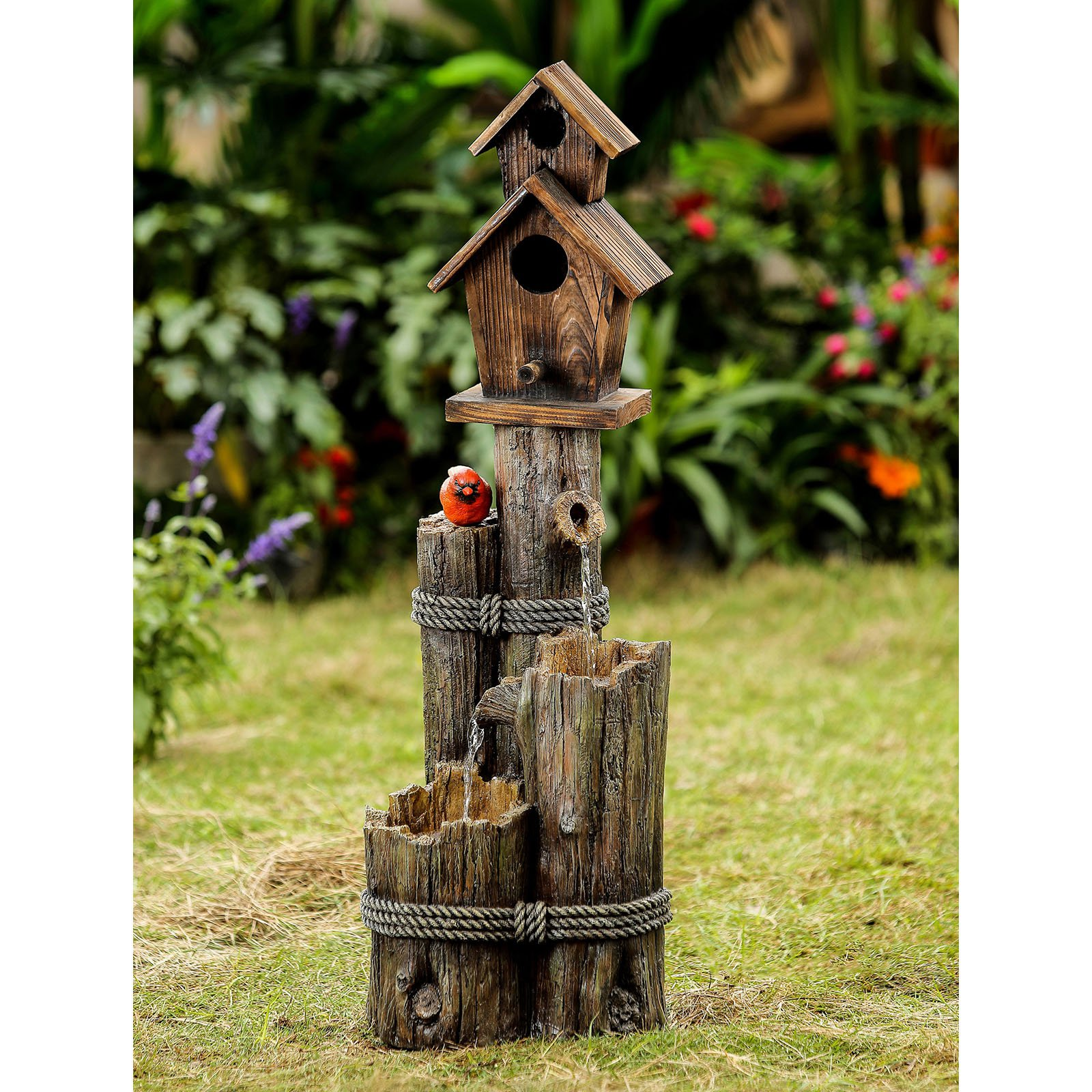 Jeco Tiered Wood Finish Water Fountain with Birdhouse by Bird Houses