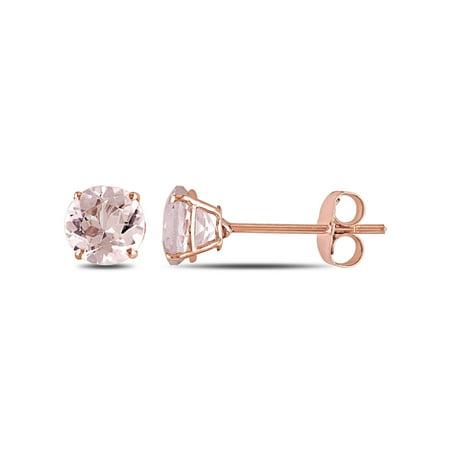 1 Carat T.G.W. Morganite 10kt Rose Gold Solitaire Stud Earrings ()