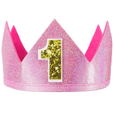 SeasonsTrading Pink Sparkle Number 1 Crown - First Birthday Party, 1st Place Winner Champion, Baby Kids Adult Costume Accessory, Cute (Best Place For 1st Birthday Party)