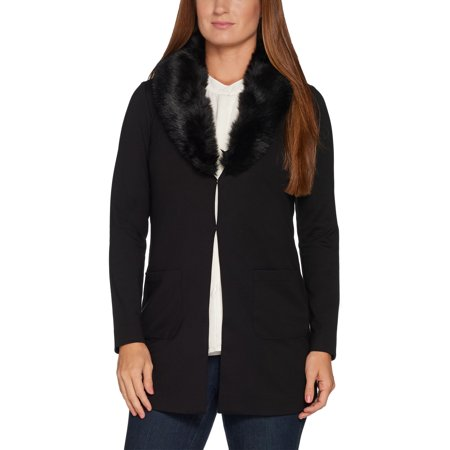 KELLY by Clinton Kelly Size S Ponte Jacket w/ Removable Faux Fur Collar BLACK