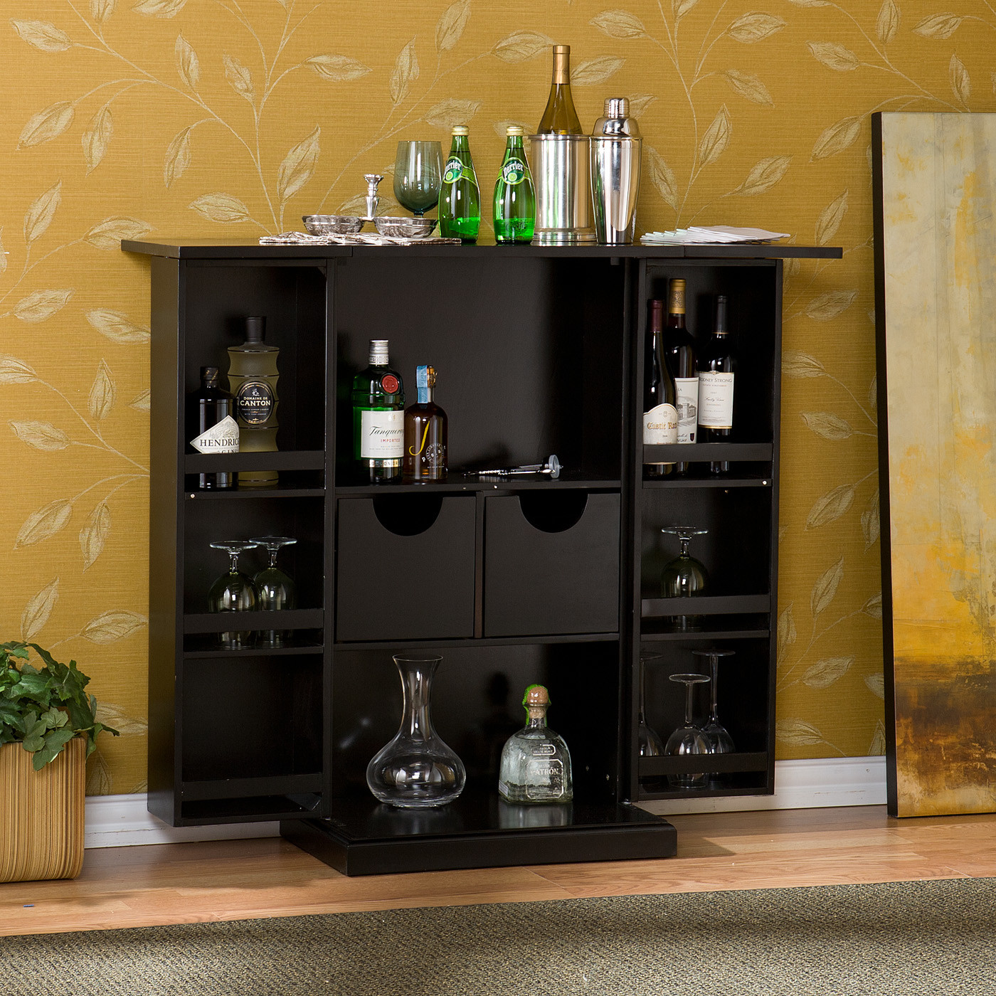 Wildon Home Boswell Bar Cabinet With Wine Storage   Walmart.com