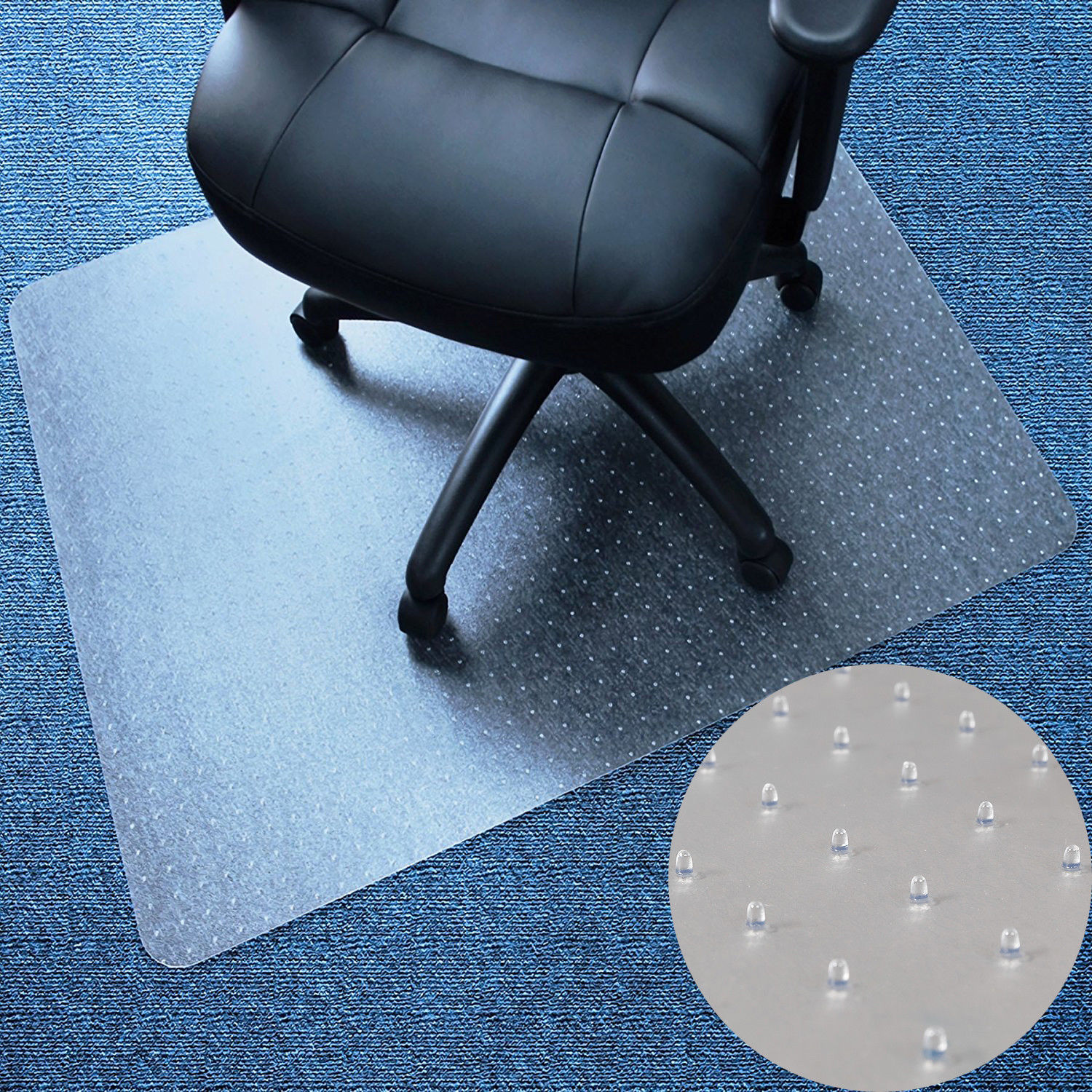 "Zimtown Rectangle PVC Home Office Chair Floor Mat Studded Back for Pile Carpet 36"" x 48"""