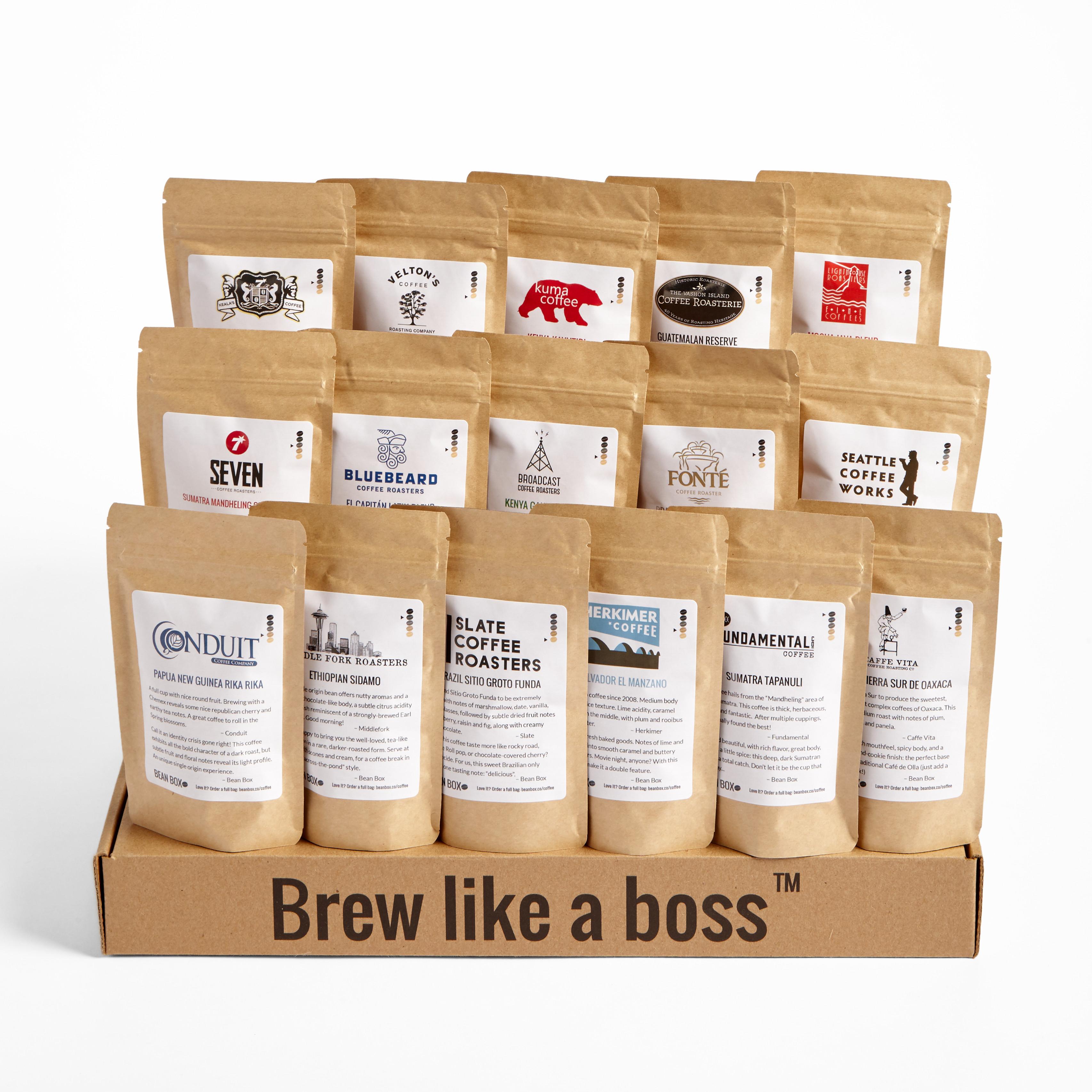 Bean Box World Coffee Tour, Single Origin Coffees, 16 Bags