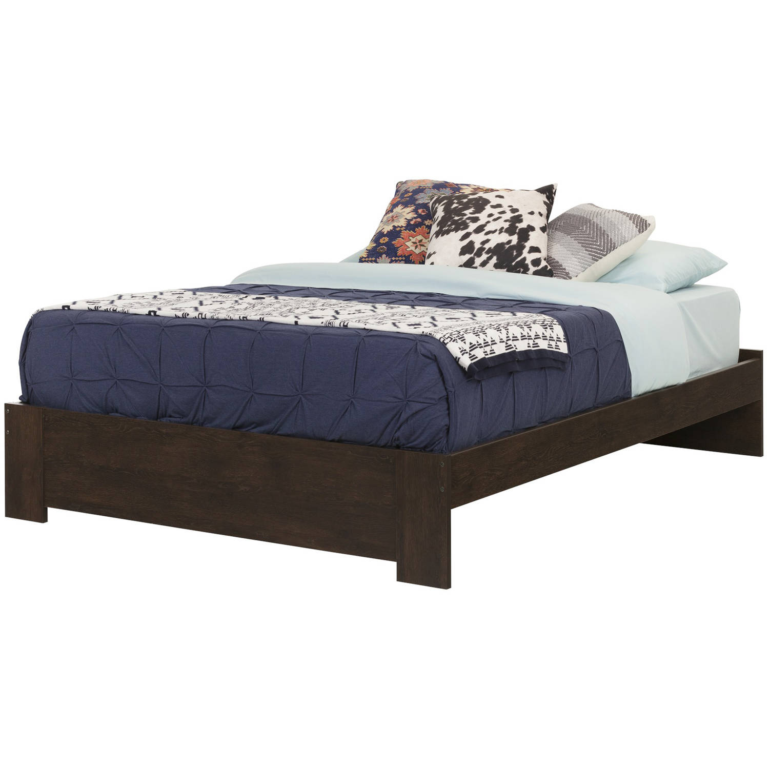 South Shore Mikka Queen Platform Bed and Headboard Black Oak