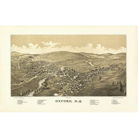 Vintage Map of Oxford New York 1888 Chenango County Canvas Art -  (24 x