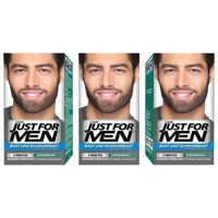 Just for Men 3 X Moustache And Beard Facial Hair Gel Colour M45 (Dark Brown Black)
