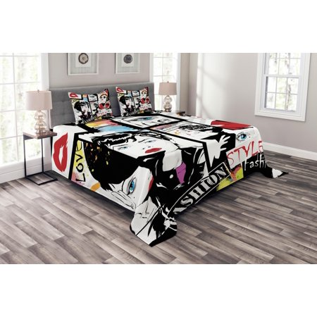 Teen Girls Bedspread Set, Fashion Girl in Sketch-style Illustration Glamour Modern Model Portrait Art Print, Decorative Quilted Coverlet Set with Pillow Shams Included, Red Black, by Ambesonne