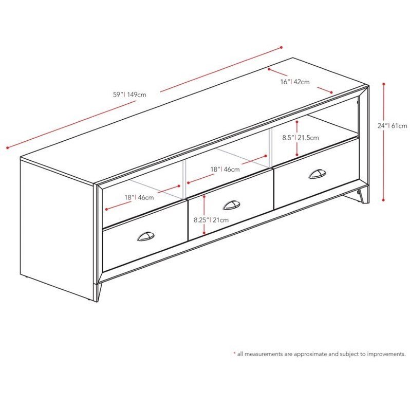 "CorLiving Kansas 59"" TV Stand in Espresso - image 3 de 4"