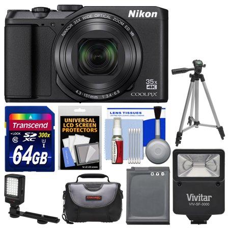 Nikon Coolpix A900 4K Wi-Fi Digital Camera (Black) with 64GB Card + Case + Flash + Video Light + Battery + Tripod + Kit (Ring Light For Nikon Coolpix)