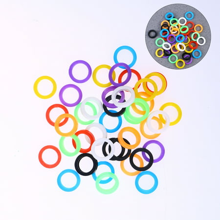 Bright Colored Key Caps Silicone Key Covers Elastic Key Tags Key Identifier Coding Rings 30pcs (Mixed Color)