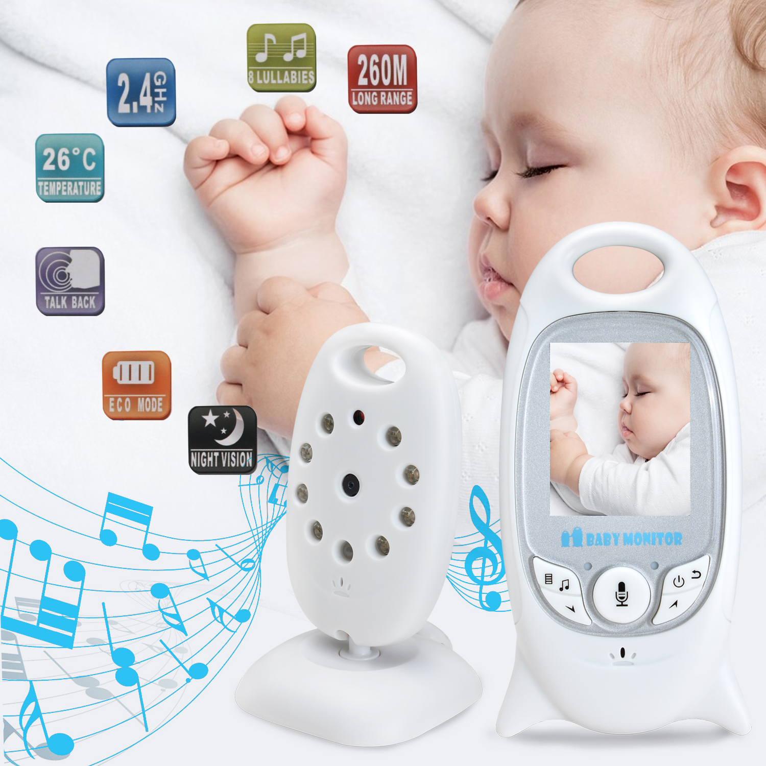 Baby Infant Wireless Video Camera Monitor Night Vision 853ft Signal Range Stable Connection