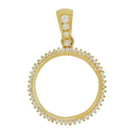 14k Yellow Gold, Coin Bezel Frame Pendant Charm Fits Round 27mm Diameter Coin