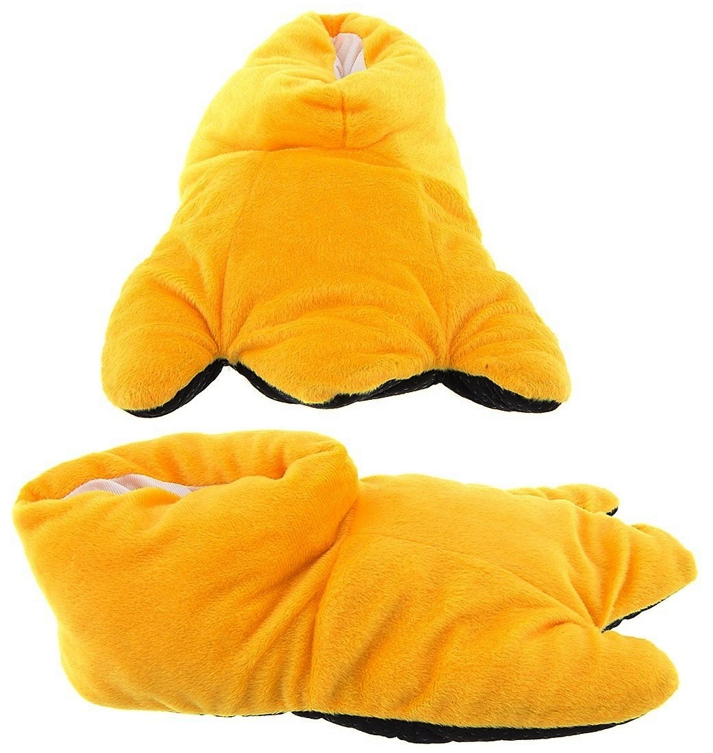Wishpets Adult & Children Kid Size Yellow Duck Feet Animal Plush Fuzzy Slippers