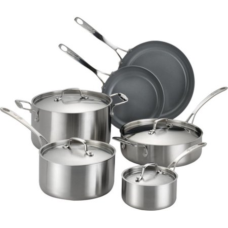 Lagostina Axia Ceramic Brushed Stainless Steel Nonstick 10 Piece Cookware Set