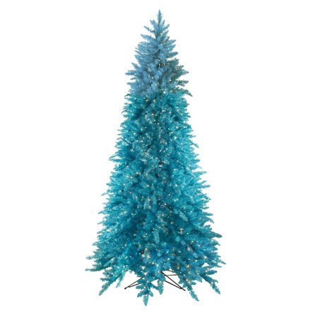 9' pre-lit slim sky blue ashley spruce christmas tree - clear & blue lights