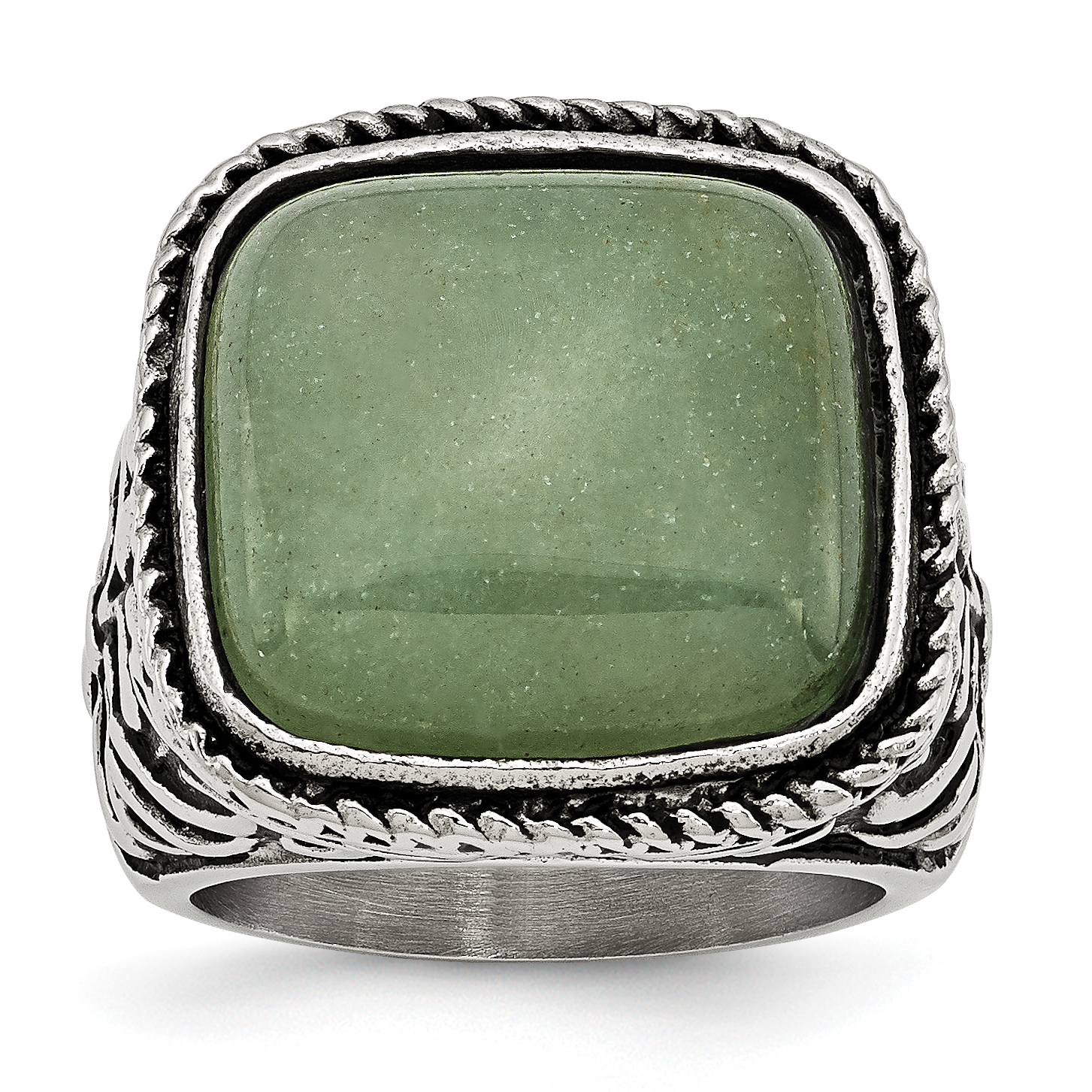 Stainless Steel Antiqued Polished Chalcedony Aventurine Ring SR387 by Chisel