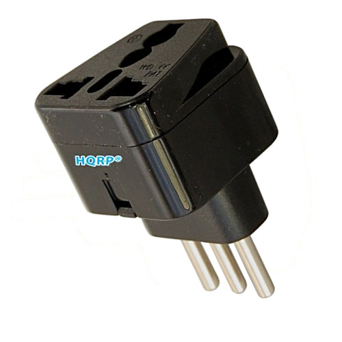 HQRP Black Grounded Universal Travel Plug Adapter from USA / Japan, Europe / Russian, Great Britain Socket to Italy Socket
