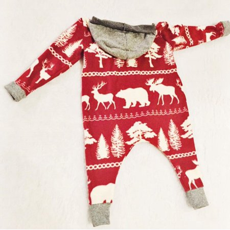 Baby Girl Boys Christmas Long Sleeve Romper Bodysuit Jumpsuit Clothes Outfit Set Long Romper Set