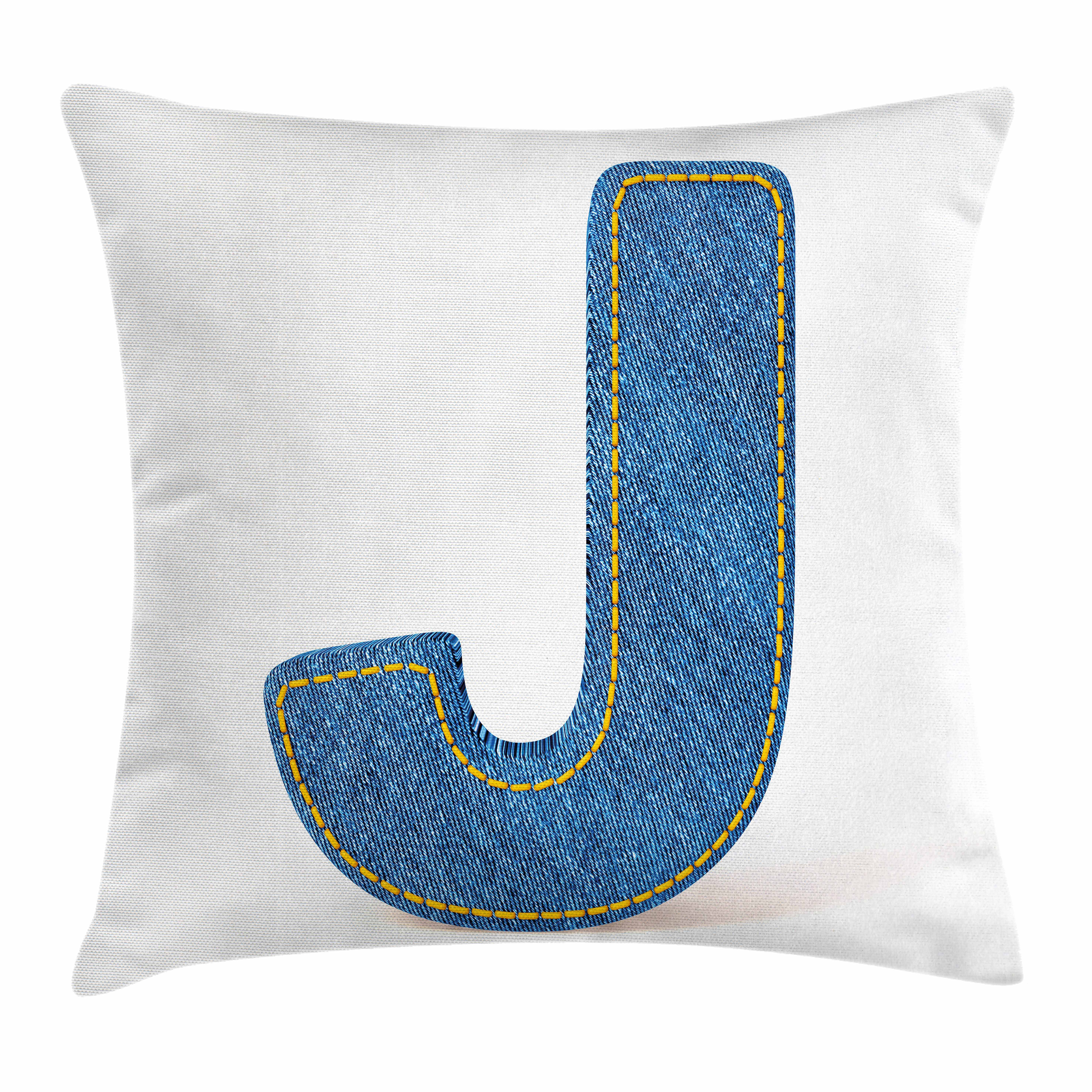 Letter J Throw Pillow Cushion Cover, Blue Jean Patterned Denim Alphabet Font Design Capitalized J Letter Cloth Style, Decorative Square Accent Pillow Case, 16 X 16 Inches, Blue Marigold, by Ambesonne
