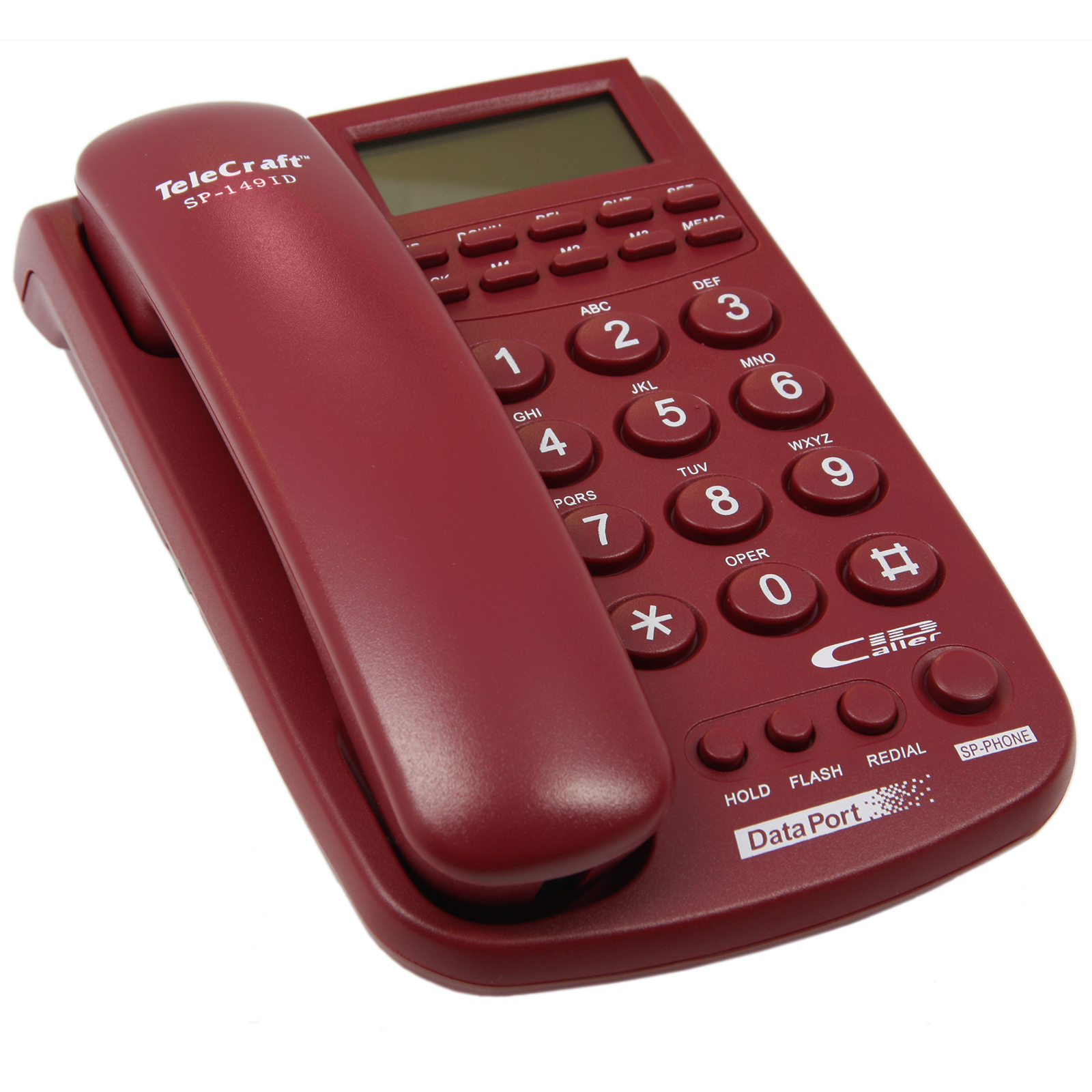 TeleCraft Caller ID Phone-Burgundy