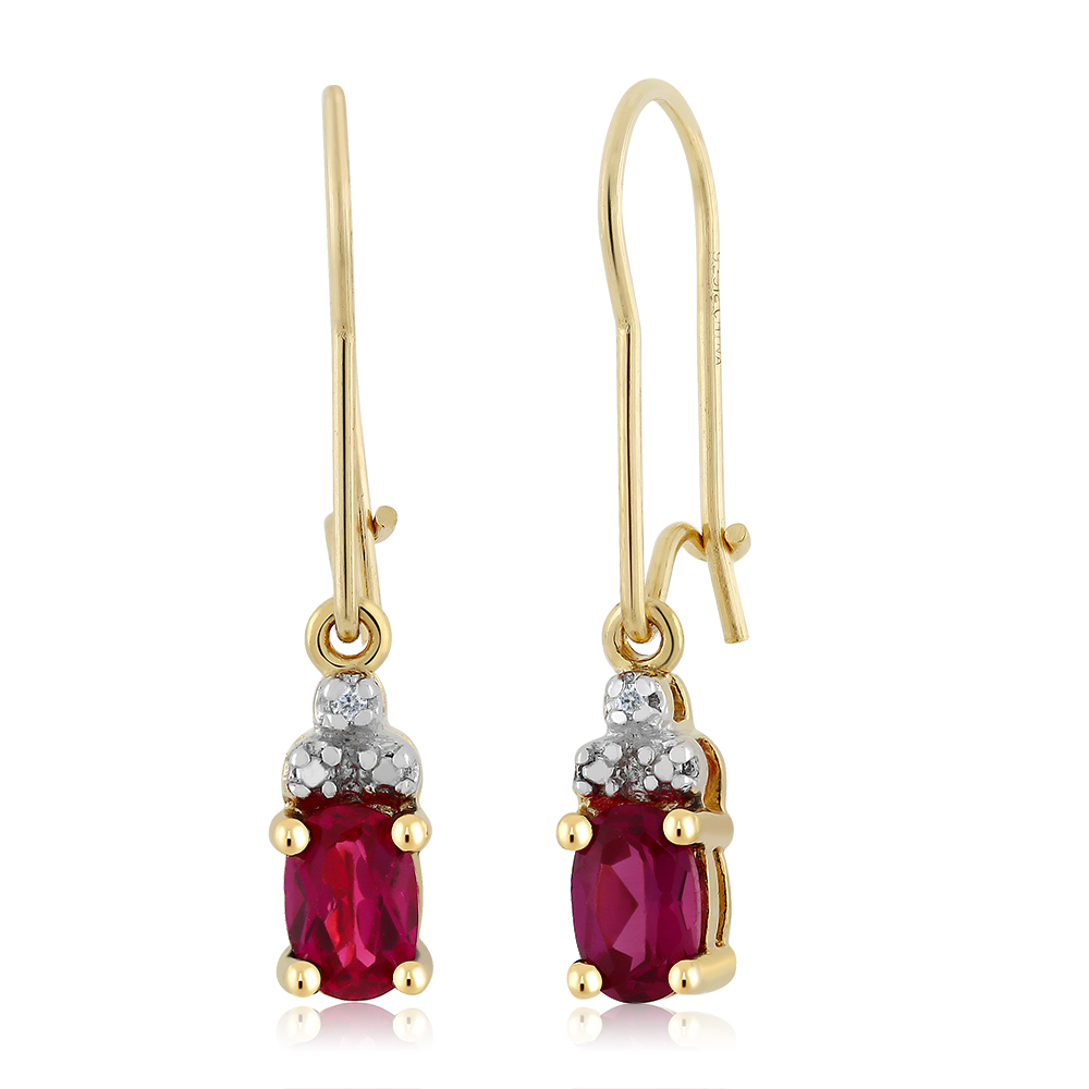 Diamond Accent and Pink CZ Yellow Gold Plated Sterling Silver Dangle Earrings