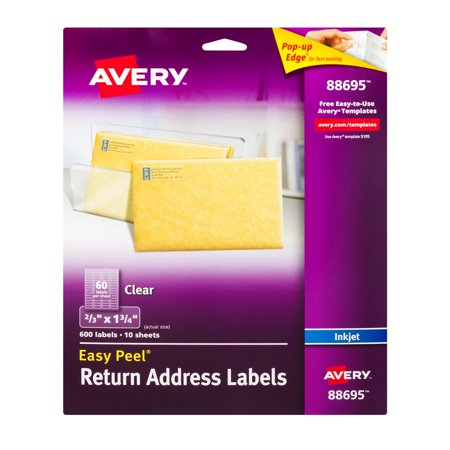 avery easy peel return address labels clear 600 0 ct walmart com