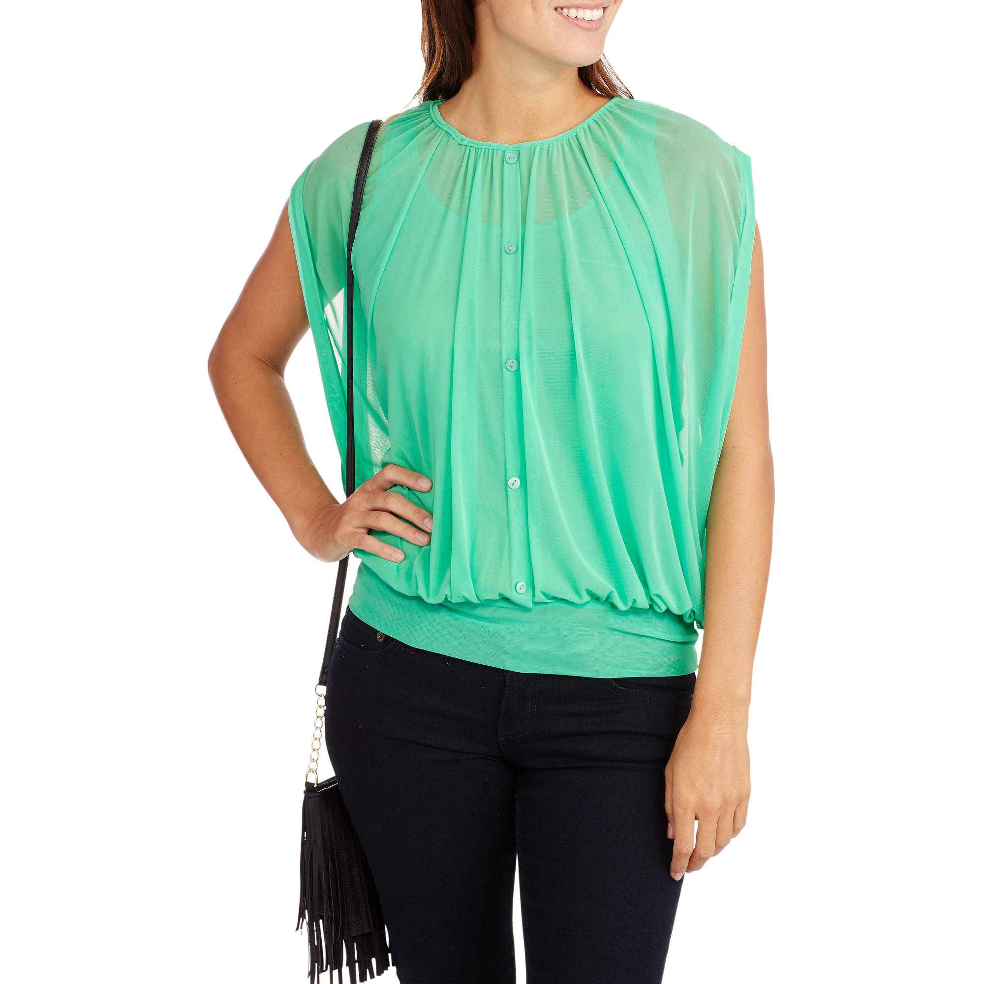 French Laundry Women's Sheer Blouson Top With Built-In Tank