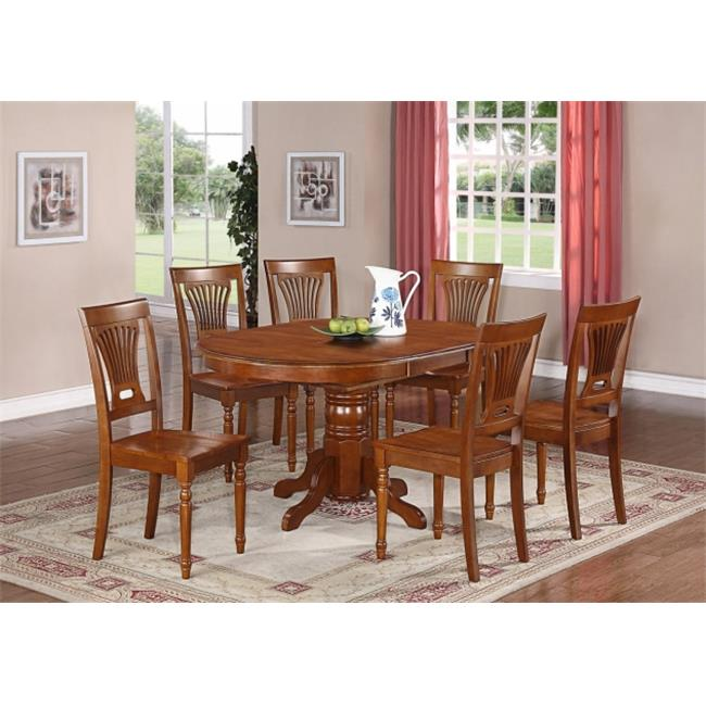 Wooden Imports Furniture DO7-SBR-W 7PC Dover Dining Table and 6 Wood Seat Chairs in Saddle Brown Finish