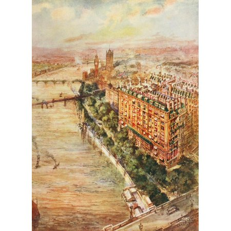 Pall Mall Magazine 1912 View of Savoy looking west Stretched Canvas - Harold Oakley (18 x (West Mall Stores)
