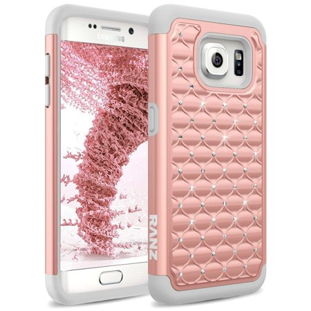 newest 802aa f3216 Samsung Galaxy S7 Edge Case, Diamond Studded Bling Crystal Rhinestone Dual  Layer Hybrid Case -Rose Gold