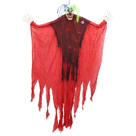 Halloween Haunters Hanging Scary Clown Blue and Green Hair - Prop Decoration - Scary Clown Props For Halloween