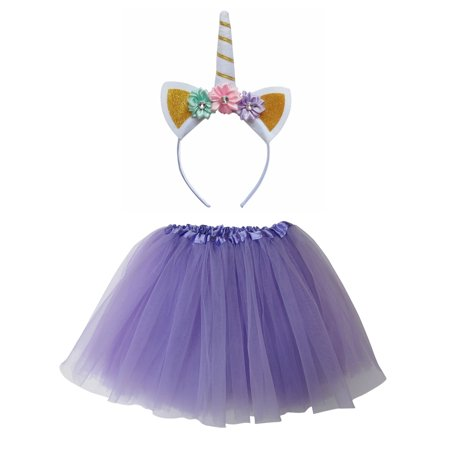 So Sydney Kids Or Adult 1-2 Pc Flower Unicorn Headband Tutu Set Costume - 2 Person Unicorn Costume